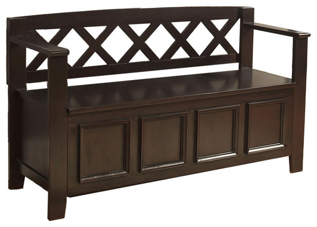 Traditional Foyer Benches : Amherst inch wide entryway bench in dark american brown