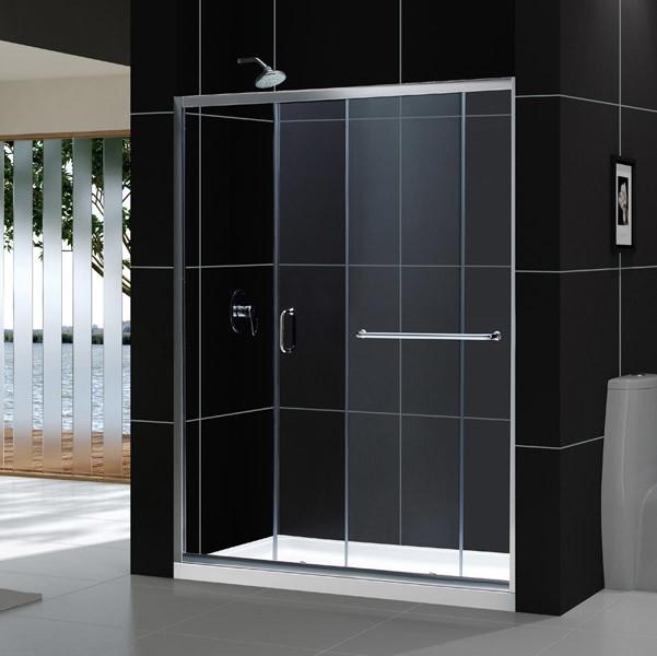 Infinity-Z Frameless Sliding Shower Door & SlimLine 34x60 Single Threshold Base - Contemporary ...