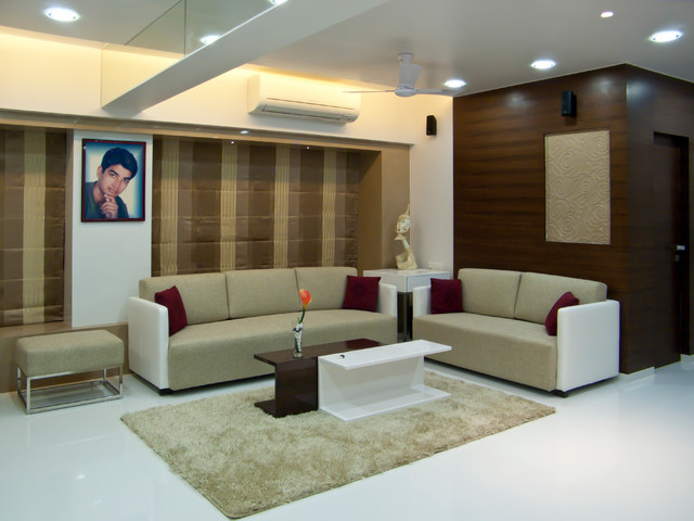 Flat in mulund mumbai contemporary living room for Interior designs for small flats in mumbai