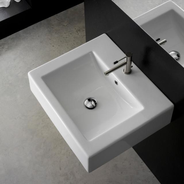 Square Wall Mounted Ceramic Bathroom Sink contemporary-bathroom-sinks