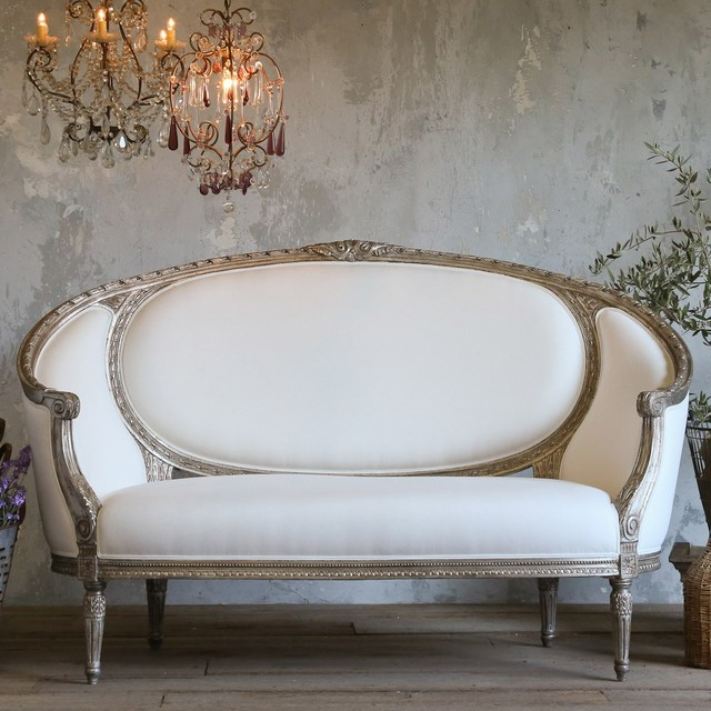 Eloquence versailles canape antique silver sofa for Canape leather sofa