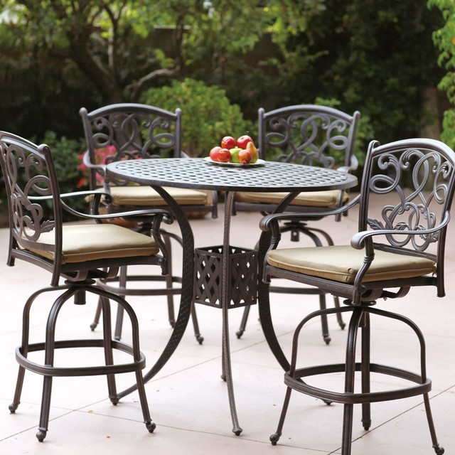 Darlee Santa Monica 4-Person Cast Aluminum Patio Bar Set