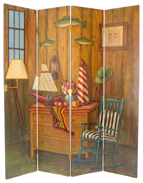 Wayborn hand painted fisherman room divider contemporary for Painted screens room dividers