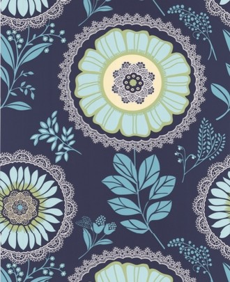 Amy butler lacework wallpaper navy blue contemporary for Navy blue wallpaper for walls