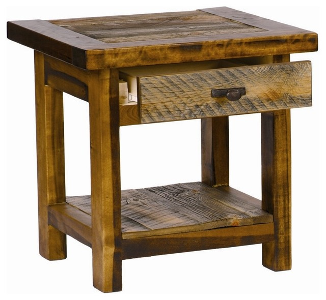 rustic wood end table w drawer contoured aspen