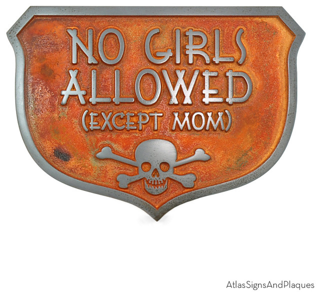 No Girls Allowed Except Mom 10 Quot X 7 Quot In Iron Rust