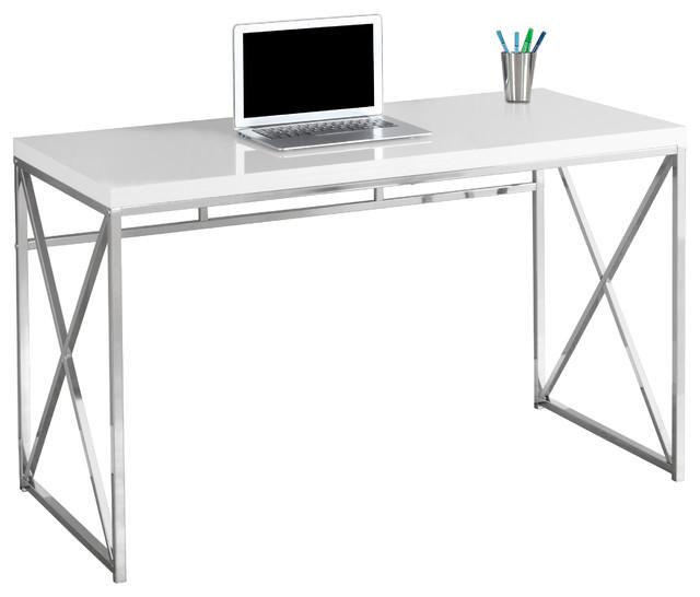 "48"" Computer Desk, Glossy White - Contemporary - Kids Desks And Desk"