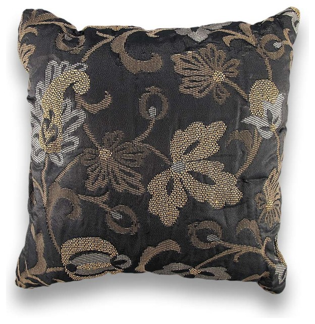 Gold Leaf Silver Metallic Damask Print Decorative Throw Pillow 17in. - Traditional - Decorative ...