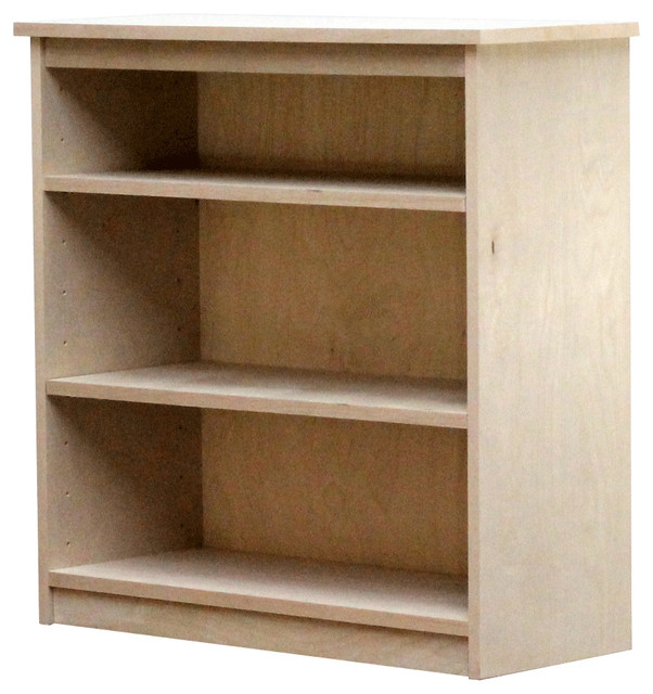 Lexington Birch Bookcase with Two Shelves, Unfinished - Contemporary - Bookcases - by Gothic ...