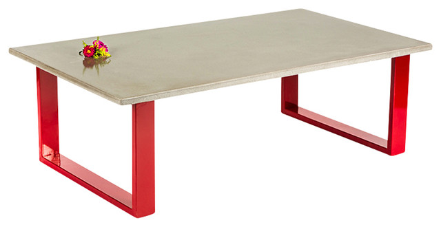 Concrete coffee table red contemporary coffee tables for Red modern coffee table