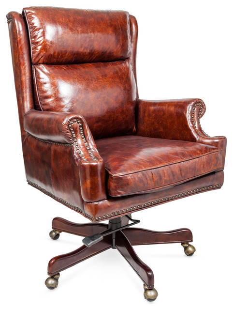 Vintage Leather Office Armchair Traditional Armchairs Accent Chairs