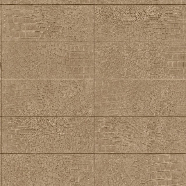 contemporary faux leather tan soft crocodile wallpaper