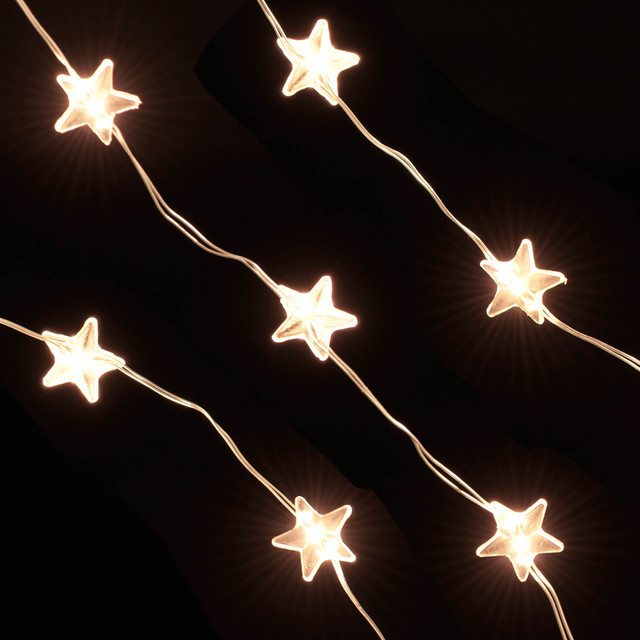 20 Warm White Battery Powered LED Stars Modern Outdoor