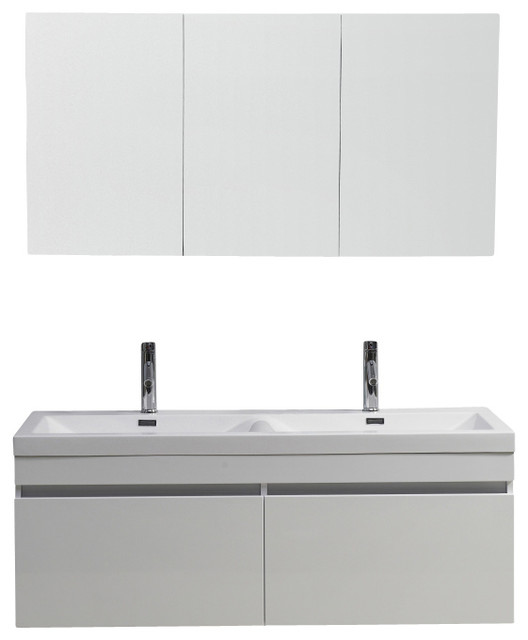 55 Inch Modern Double Sink Bathroom Vanity Modern