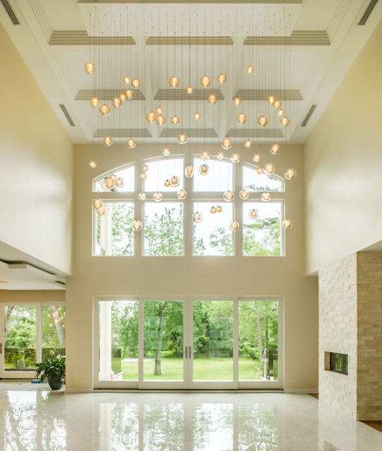 Modern Chandelier For Two Story Foyer : Kadur large entry way foyer chandelier two story blown