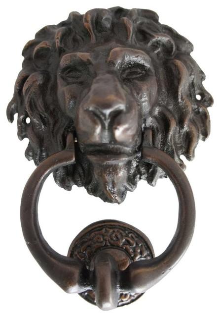 Antique reproduction bronze lion head door knocker traditional door hardware by eron - Antique brass lion head door knocker ...