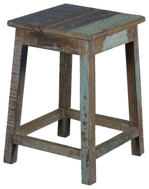 """Wooden Step Stool Bedside: Square Rustic Reclaimed Wood 18"""" Pedestal End Table Stool"""