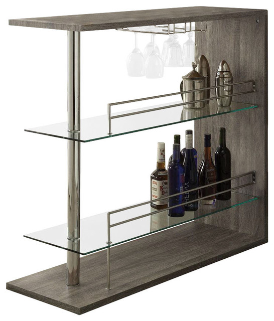 Wine Rack Bar Table Unit With 2 Glass Shelves Wine Holder - Contemporary - Indoor Pub And Bistro ...