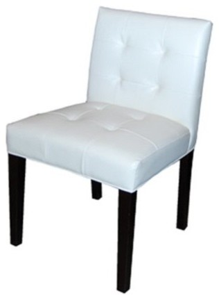 Low back tufted leather dining chair white contemporary for White leather high back dining chairs