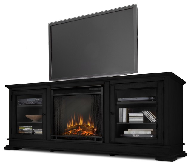 Real flame hudson black entertainment center with electric for Contemporary ventless fireplace