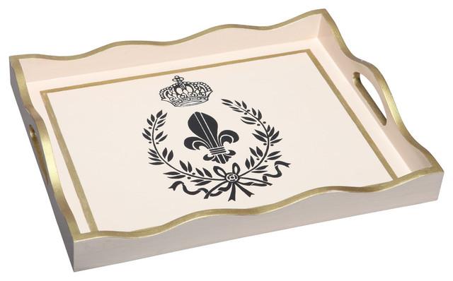 Allen g designs wooden tray with handles black fleur de lis with crown traditional serving - Fleur de lis serving tray ...