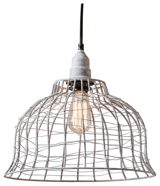 Industrial Wire Cage Pendant Weathered Zinc