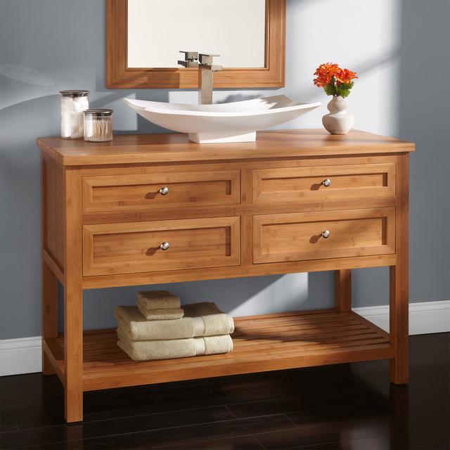 48 thayer bamboo vessel sink vanity modern bathroom for Modern bamboo bathroom vanity