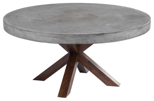 Concrete Edge Round Dining Table Industrial Dining