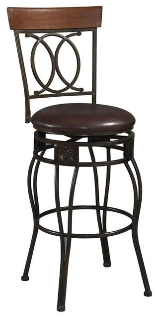 Linon Salina 24 Inch H Vinyl Counter Height Bar Stool With