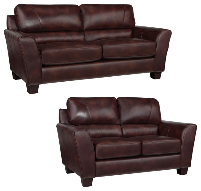Eclipse Chocolate Brown Italian Leather Sofa And Loveseat Contemporary Loveseats By