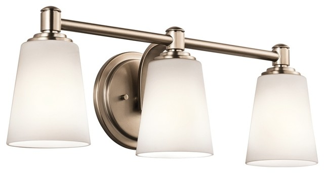 Transitional Bathroom Wall Sconces : Kichler 45455CLZ Quincy Classic Bronze 3 Light Bathroom Wall Sconce - Transitional - Bathroom ...