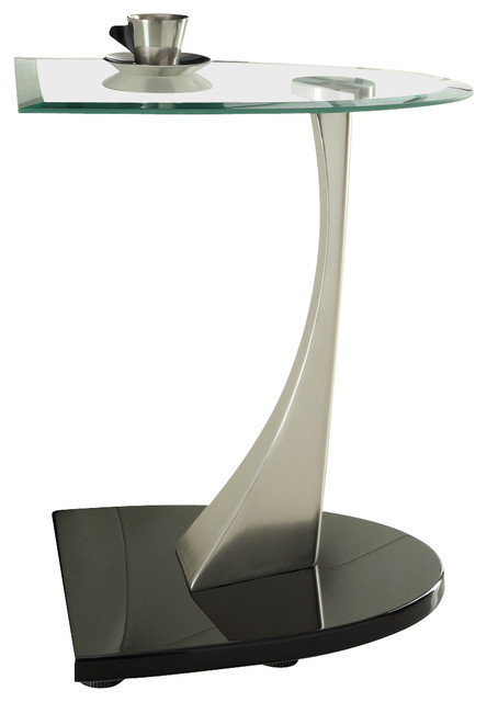 homelegance galaxy half moon glass chairside table with brushed chrome base traditional side. Black Bedroom Furniture Sets. Home Design Ideas