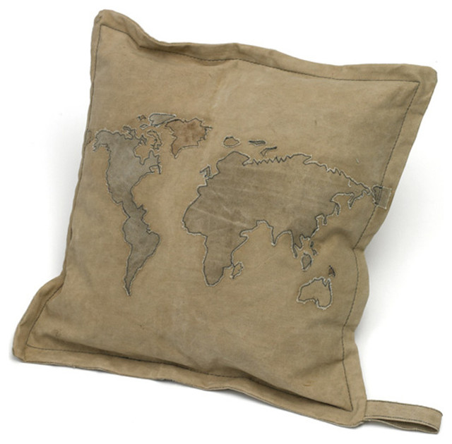 Modern Moose Pillows : Modern Style World Map Pillow 11670 - Rustic - Decorative Pillows - by GwG Outlet