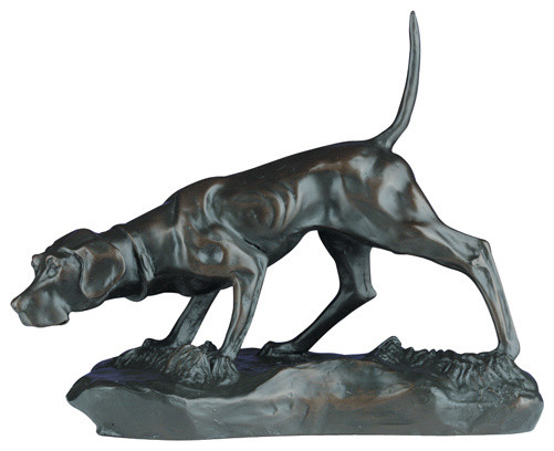 Bird Dog On Point Sculpture Traditional Decorative