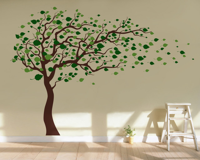 pop decors tree blowing in the wind wall decal lime greenleaf