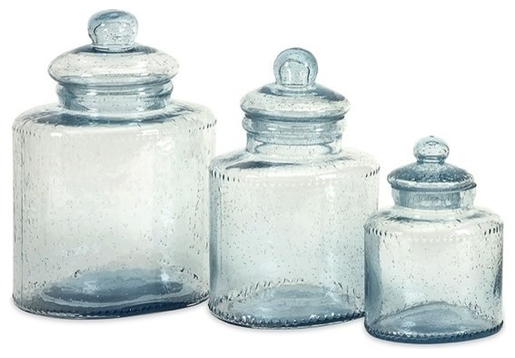 Cyprus Glass Canister - Set of 3 - Traditional - Kitchen Canisters And ...
