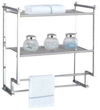 Metro 2-Tier Wall Mount Rack With Towel Bars - Modern ...