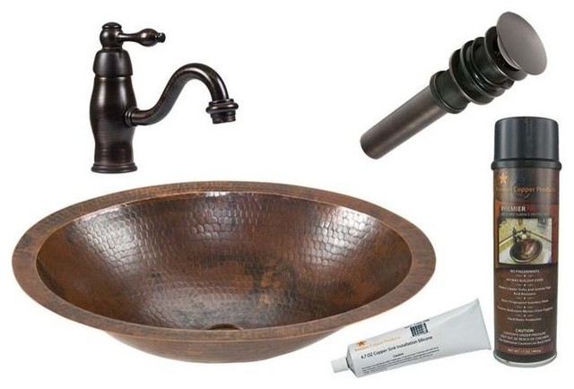 small counter copper sink faucet drain