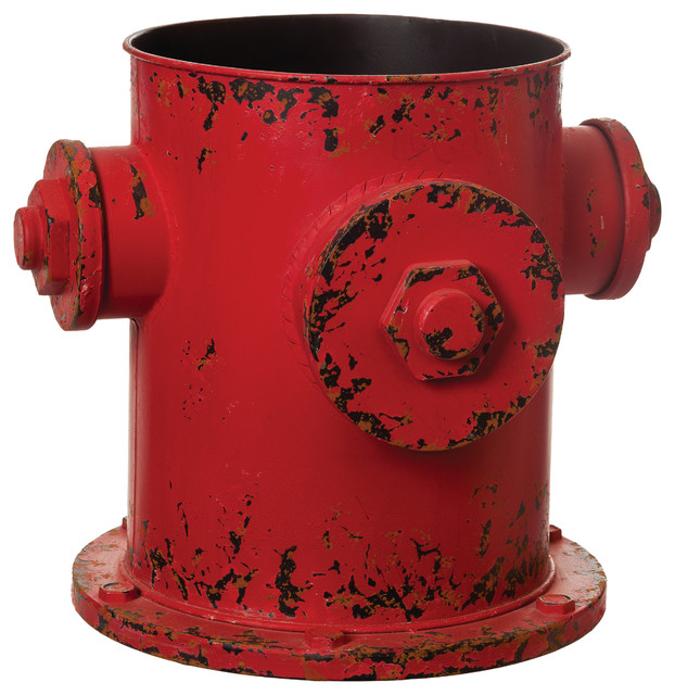 Distressed red metal fire hydrant wastebasket planter rustic