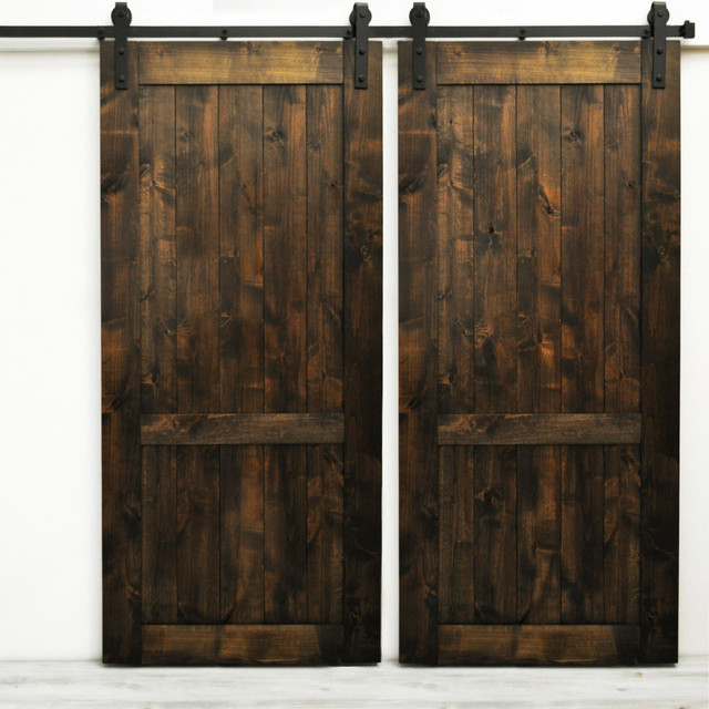 Dogberry Country Vintage Double Barn Doors, Dark Chocolate