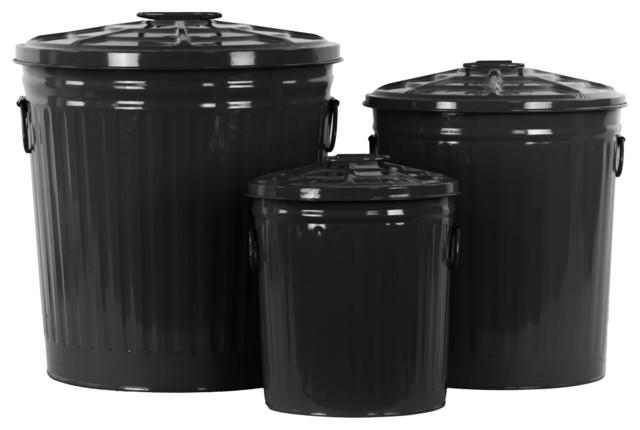 Metal Garbage Can Storage Bins, Black, Set of 3 - Industrial - Trash Cans - by Urban Trends ...