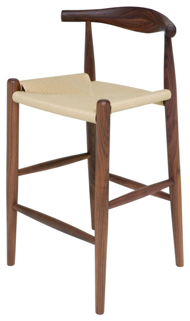 Quinn American Solid Walnut Stool With Rattan Seat