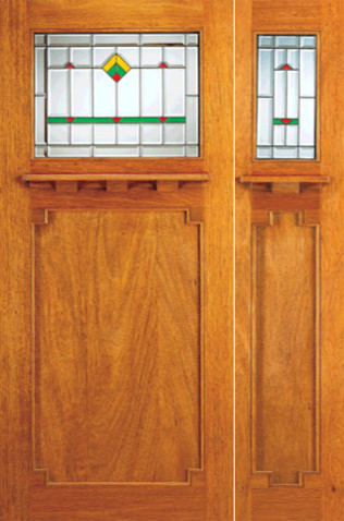 Prehung exterior doors and sidelite glass design arts for Arts and crafts front doors