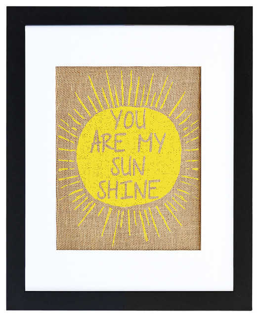 You Are My Sunshine Burlap Wall Art Modern Black 16x20