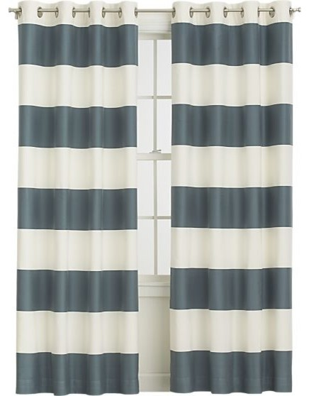 Alston slate 50 x84 curtain panel contemporary curtains - Epic window treatment decoration with slate blue curtain ...
