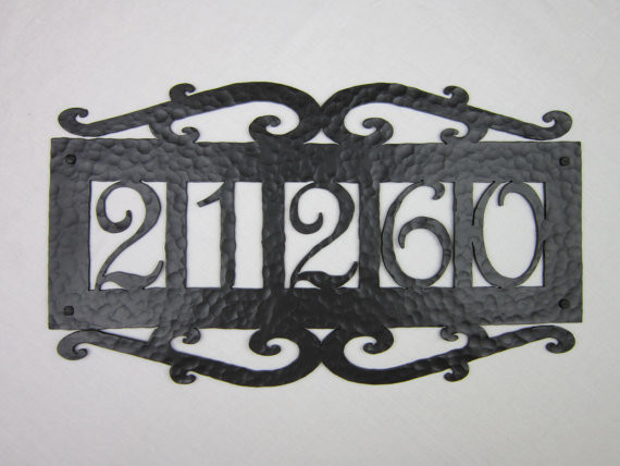 Aph15 spanish style wrought iron address plaques for Mediterranean house numbers
