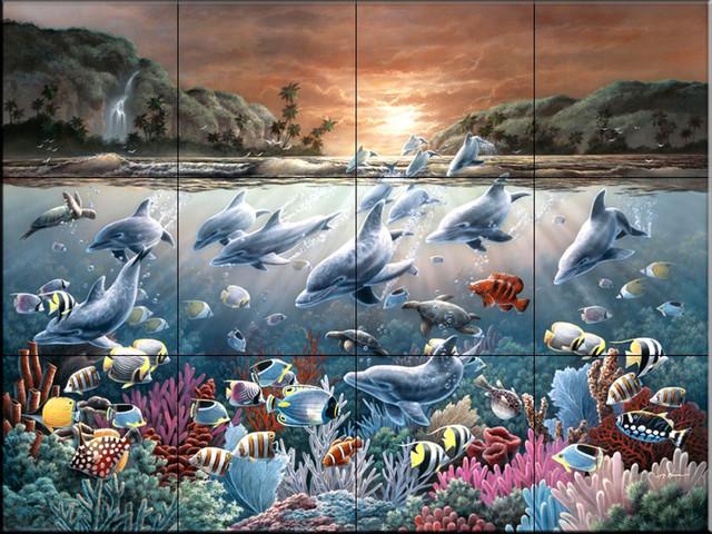 Tile mural dolphin wonderland kitchen backsplash ideas for Dolphin tile mural