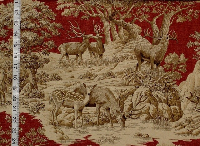 Deer Fabric Red Toile Woods Nature Woodland Lodge Rustic Fabric