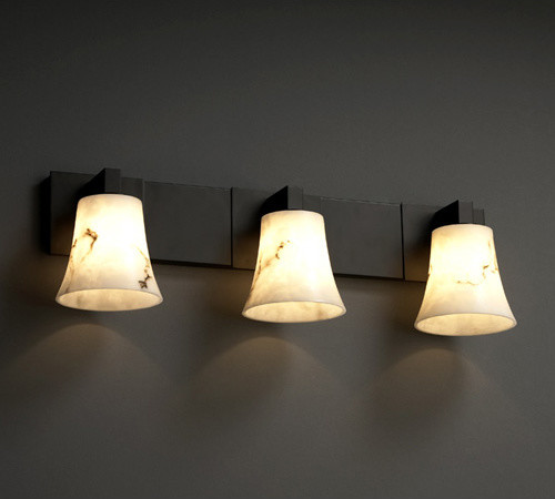 Faux Alabaster Three-Light Matte Black Bath Bar - Contemporary - Bathroom Vanity Lighting - by ...