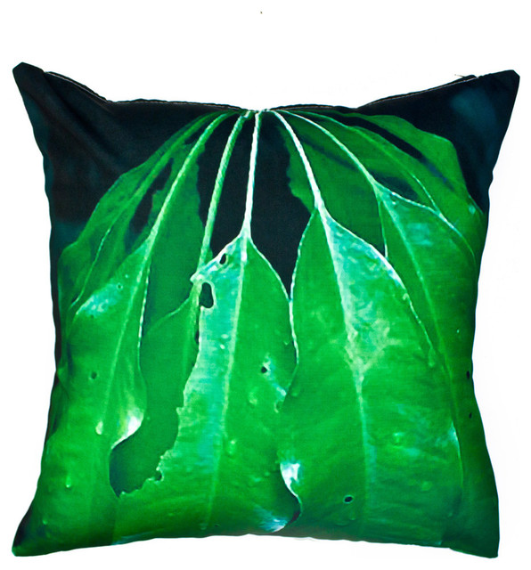 Green Leaves Outdoor Pillow Tropical Outdoor Cushions